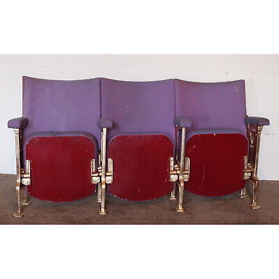 A Row of Three Vintage Art Deco C1930s Cinema Theatre Seats with Aisle End Panel