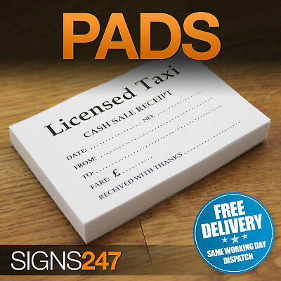 TAXI RECEIPTS - 100 Sheet Pads Licensed Taxi Minicab Receipt Pads