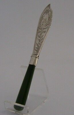 RARE SOLID STERLING SILVER NEW ZEALAND JADE BUTTER SPREADER c1900 ANTIQUE