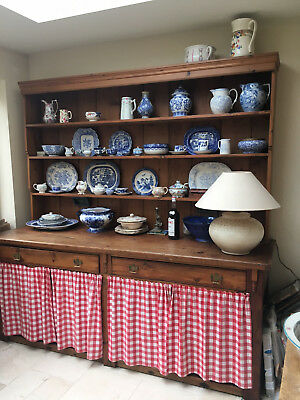Antique Large Pine Dresser with Drawers Old Victorian Farmhouse Country Kitchen