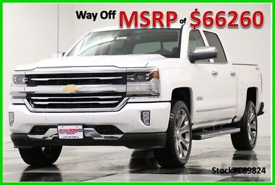 2018 Chevrolet Silverado 1500 MSRP$66260 4WD High Country DVD Sunroof White Crew 4X4 New Heated Cooled Leather Navigation 22 In Rims 6.2L V8 Iridescent Pearl 17 2017