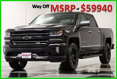 2018 Chevrolet Silverado 1500 MSRP$59940 LTZ 4X4 Z71 Sunroof Black Crew New Navigation Heated Cooled Leather 22 In Black Rims Camera 17 2017 18 Cab 4WD