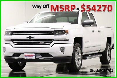 2018 Chevrolet Silverado 1500 MSRP$54270 4X4 Z71 LTZ GPS Leather White Double 4W New Navigation Heated Cooled 17 2017 18 20 In Chrome Rims 5.3L Ext Extended Cab