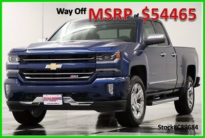 2018 Chevrolet Silverado 1500 2LZ Deep Ocean Blue Metallic Double Cab For Sale New Navigation Heated Cooled Black Seats 17 2017 18 5.3L V8 Ext Extended Cab 4WD