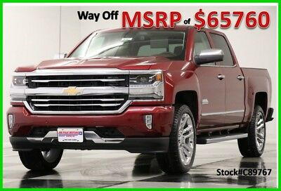 2018 Chevrolet Silverado 1500 MSRP$63760 4X4 High Country Sunroof Red Crew 4WD New Navigation 6.2L V8 Heated Cooled Leather GPS 17 2017 18 Cab Camera Bluetooth