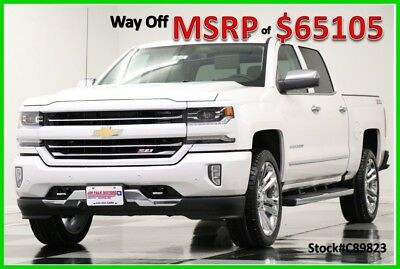 2018 Chevrolet Silverado 1500 MSRP65105 4WD LTZ Z71 DVD Sunroof White Crew 4X4 New Navigation Heated Cooled Leather Iridescent Pearl 22 In Rims 6.2L 17 2017 18