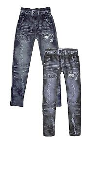 Girls Kids Printed Stretchy Fabric Denim Look Jeans Legging Age 6 To 14 Years