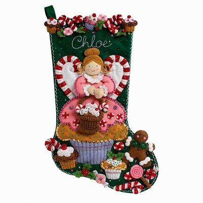 Christmas Stocking Kit.Bucilla Cupcake Angel Felt Christmas Stocking Kit Oop 86207 New Factory Direct