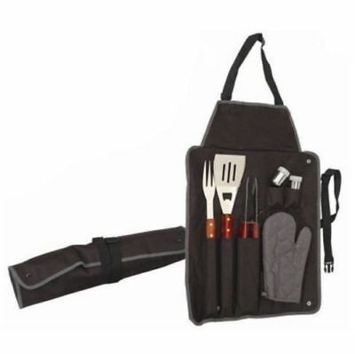 New 7pc Bbq Tool Set Gourmet Bbq Apron Utensil Camping Stainless Steel Cutlery