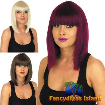 Straight Blunt Cut Wig Glamour Model Fringed Womens Fancy Dress Costume