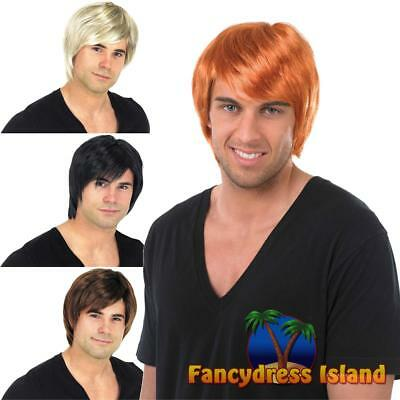 90s Boy Band Wig Short Pop Star Celebrity Mens Fancy Dress Costume