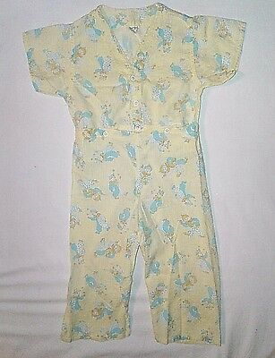 Vintage TODDLE TIME Unisex 2pc Pajamas 18 Mos 1 1/2 Yellow Clowns Snaps JCP
