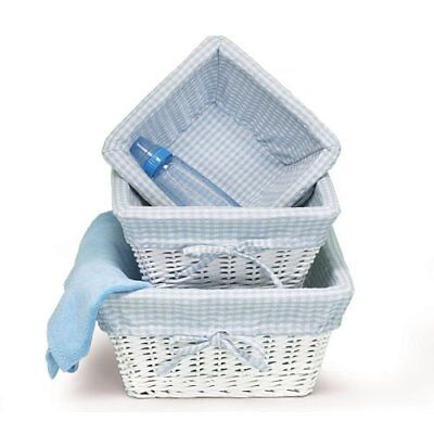 Set of 3 Baby Boy Nursery Storage Baskets White Willow with Blue Cotton Gingh...