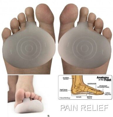 1 Pair Ball Of Foot Silicone Gel Pads Cushions Metatarsal Pain Relief Insoles