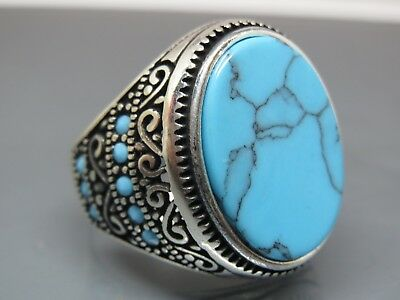 Turkish Handmade Jewelry 925 Sterling Silver Turquoise Stone Men's Ring Sz 9,5