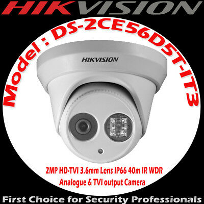 Hikvision 2MP HD-TVI Turret 3.6mm fixed lens IP66 40m IR Camera DS-2CE56D5T-IT3
