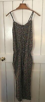 Vintage 90s Earth Music & Ecology Blue Floral Ditsy Jumpsuit 6 8