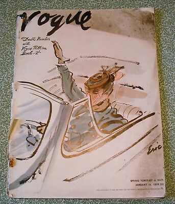 Vintage Vogue Fashion January 1939 Double Issue With Pattern Book Just Pre-War