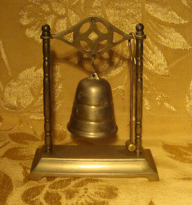 VINTAGE BRASS DESK BELL GONG with STRIKING HAMMER