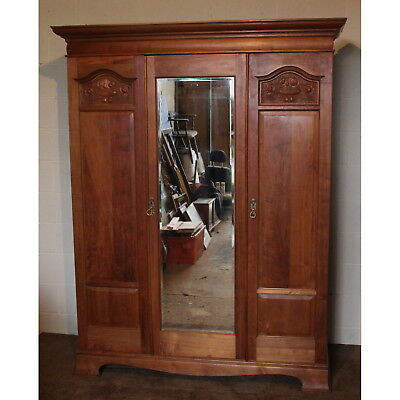 Quality Victorian Satinwood Mirror Fronted Fitted Triple Wardrobe by Maple & Co