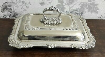 An Antique Silver Plated Entree Dish with Ornate Rims
