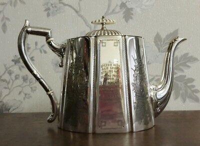 A Beautiful Victorian Silver Plated Teapot,  Engraved Floral Design