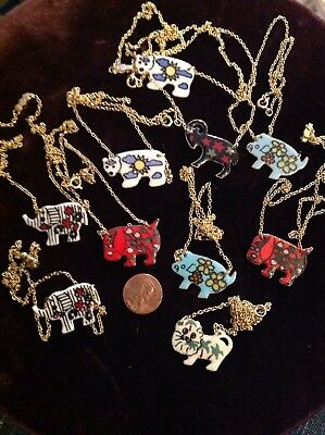 Vtg Jewelry Lot of 10 Enamel Animal Necklaces,Gold Tone, New Old Store Stock