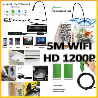 Pipe Inspection Camera Endoscope Wireless Waterproof IP68 HD 5M 8 LED Iphone iOS
