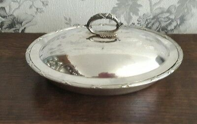 An Antique Silver Plated Serving Dish with Lid, Reed & Ribbon, James Dixon