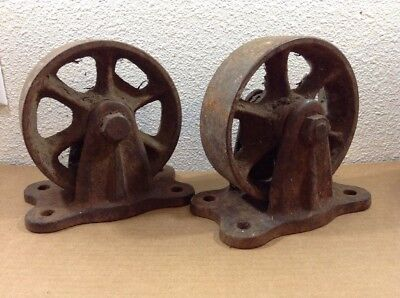 Antique Vintage Pair Of Cast Iron Kart Cart Wheels Buggy Spoked Wheel As Is