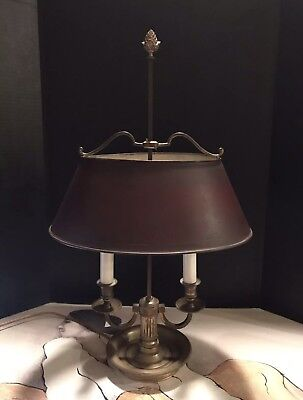 Antique Mid-Century French Table Lamp With Solid Brass Base Adjustable Shade