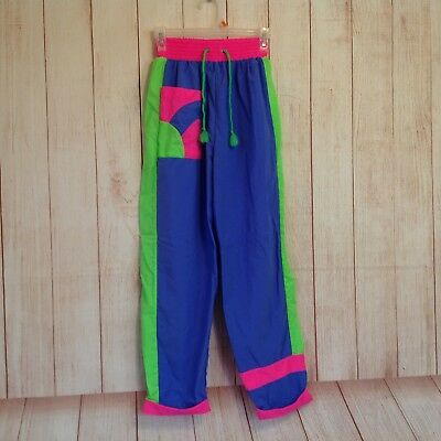 Vintage 90s Sporting Life By Catalina Neon Colors Elastic Waist Pants Ladies S