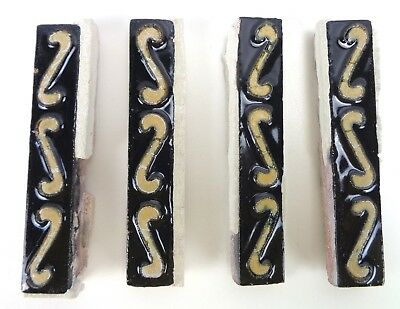 "VERY RARE * (4) Grueby Pottery BORDER TRIM Tile * 6""x 1""* BLACK & HAUTEVILLE"