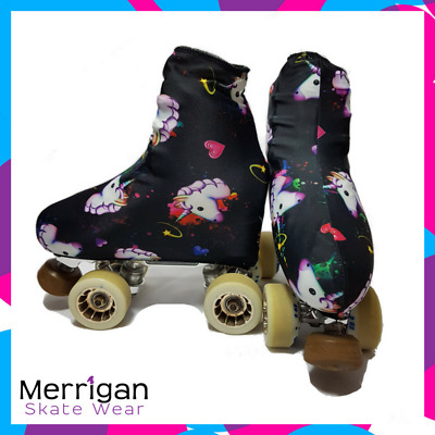 Black Unicorn and hearts Skating boot covers for roller skates or ice skates