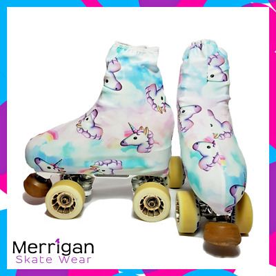Pastel Unicorn and rainbows Skating boot covers for roller skates or ice skates