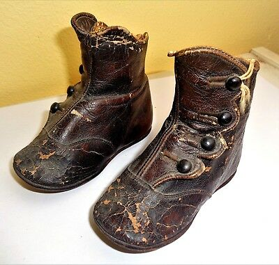 Antique Pair Victorian Leather Baby Kids Infant Children Shoes Boot Button Up