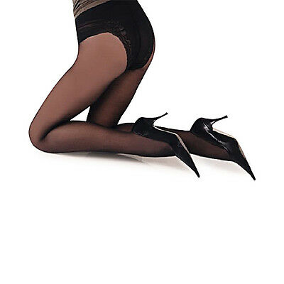 BODY - Body Shaper Pantyhose, 40 Denier Glamour Tights with Laced 100 Den Panty