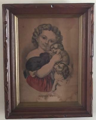 Antique 1800s PAPAS PET Framed Lithograph Print Cavalier King Charles Spaniel