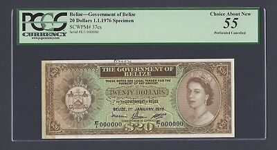 Belize 20 Dollars 1-1-1976  P37cs Specimen Perforated About Uncirculated