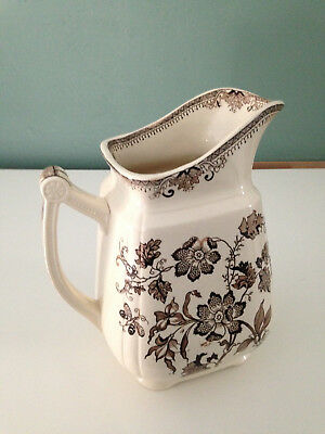 Pitcher. J.8 Inch Brown Transferware Pitcher.   J. F. Wileman
