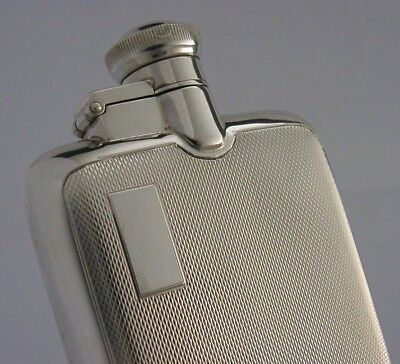 Super Quality Solid Sterling Silver Engine Turned Hip Spirit Flask 1956 Hunting