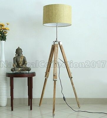 Retro Style Nautical Tripod Wooden Floor Lamp/shade Stand- Vintage Home Decor