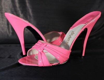 Fredericks of Hollywood Spike High Heel Shiny Pink Patent Mules Slides sz 12