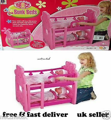 Kids Pink Double or Single Dolls Baby Bunk Bed Toy Pillow, Mattresses,Blankets