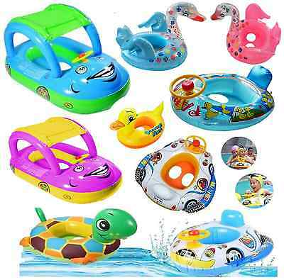Kids Baby ToddlerSwimming Pool SwimSeatFloat Boat Ring With Wheel  and Horn