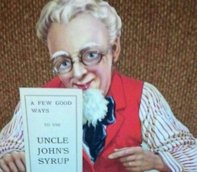 RARE,1900s UNCLE JOHNS MAPLE SYRUP FIGURIAL COUNTER SIGN,LABEL & BOOKLET,ANTIQUE