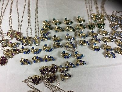 Vintage Matching Rhinestone Pendants Clip Earrings Lot 45 Pieces New Old Stock
