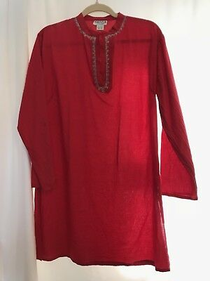 Red Kurta Made In India 100% Cotton Long Sleeve Tunic Henna Silver Embroidery