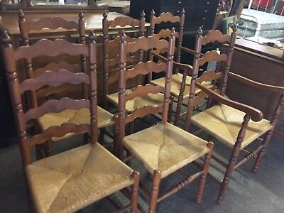 Tell City Set of 6 Ladderback Chairs Andover Maple Caned Fibre Seats - Excellent