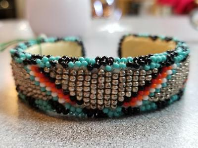 American Indian Beaded Cuff Bracelet Leather Back - Turquoise Black